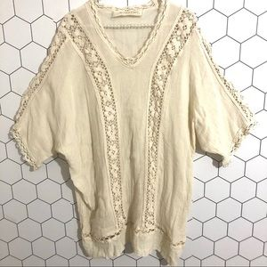 Jen's Pirate Booty | Creme Lace Trim Tunic Top